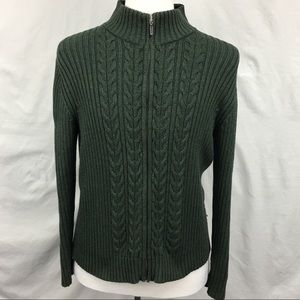 Lands End Forest Green Cable Knit Zip Up Sweater